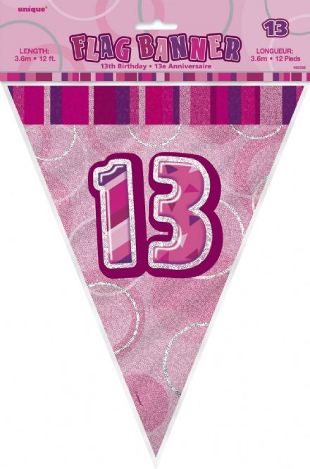 Pink Glitz '13th' Birthday Flag Banner